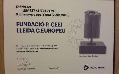 El CEEILleida, guardonada per ser una de les empreses o institucions de Lleida sense registrar cap sinistralitat en els darrers cinc anys