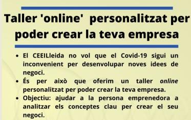 Taller 'online' personalitzat per poder crear la teva empresa