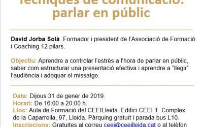 """La càpsula """"Tècniques de comunicació: parlar en públic"""" també s'oferirà el 31 de gener davant l'alta demanda d'inscripcions"""