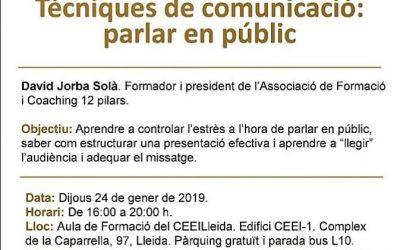 Primera càpsula formativa del 2019 al CEEILleida: Tècniques de comunicació: parlar en públic