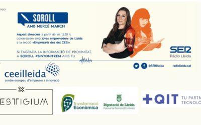 El director del Patronat de Promoció Econòmica de la Diputació, i els emprenedors de Masqueit i Vestigium, en el programa 'Empresaris' de Ràdio Lleida